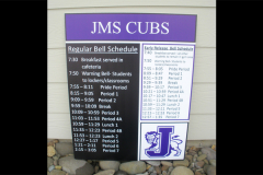 Jefferson Middle School Schedule sign
